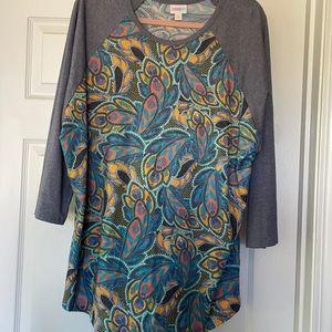 LulaRoe Randy Jersey, vintage washed, feathers, 3X